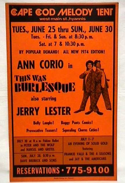 Theater Poster for Summer Show This was Burlesque Cape Cod Melody Tent