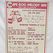 Cape Cod Melody Tent Entertainment  Poster for Childrens Theater