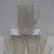 Pitcher Set Matching Pattern with 12 Individual Glasses