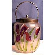 SALE Biscuit Jar or Barrel Victorian American Glass