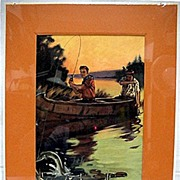 SALE Fishing Print Signed Hintermeister 50% Off