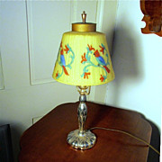 Table Lamp Pairpoint with Reverse Painted Blue Parrot Shade