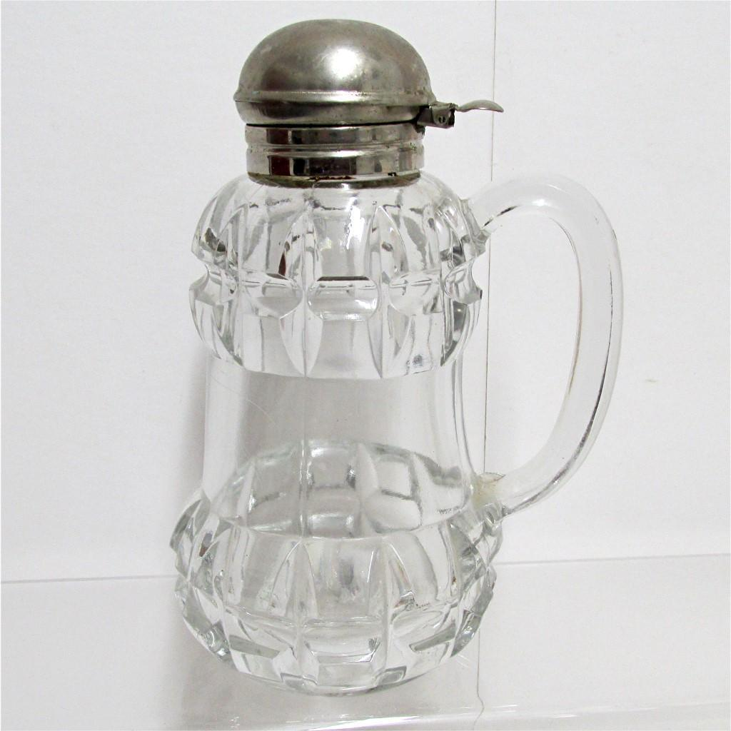 Syrup Pitcher, Jar or Jug Antique Glass 1890's American