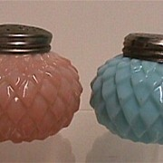 Salt and Pepper Set Antique American Consolidate Glass Co. Shakers Squatty Leaf Pattern