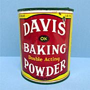 SALE Davis  1 1/2 Pound Baking Powder Advertising Tin
