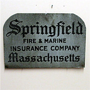 Insurance Advertising Sign Springfield Fire and Marine 50% OFF