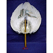 REDUCED Feather Fan Antique Hand Painted