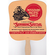 REDUCED Railroad Advertising Fan Missouri Pacific Lines