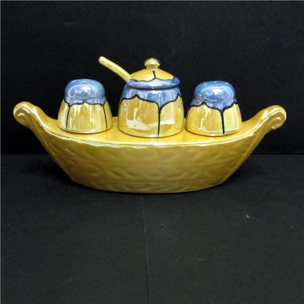 Gondola Condiment Set Lusterware Porcelain