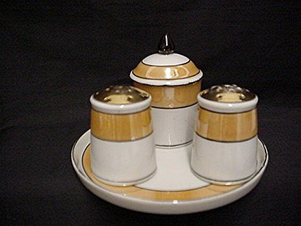 Lusterware Condiment Set Complete with Salt Pepper Mustard Pot Spoon in Tray