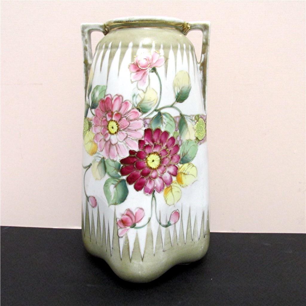 "Nippon Vase Hand Painted 10""  tall"