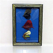 SALE Set of Three Fly Fishing Flies Framed
