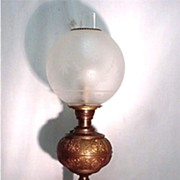 Banquet Lamp in Brass with Frosted and Etched Globe