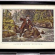 SALE Brook Trout Fishing Currier & Ives Print