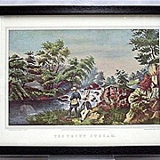 SALE Currier & Ives the Trout Stream Print 50% Off