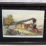 SALE Framed Railroad Train Print