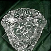 SALE Glass American Pressed Trefold Dish