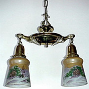 Two Light Hand Painted Shades Ceiling Drop Light  $295