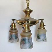 SALE 3 Drop Light  Hanging Light  Circa  1900 Matching Hand Painted Shades  $495