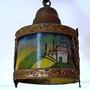 Hand Painted Antique Hanging Lamp $295