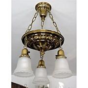 Ceiling Drop Light Fixture American Victorian Circa 1880