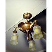 Antique Ceiling Hanging Light with 3 Matching Glass Drop Shades $449