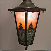 Ceiling Light Framed Six Panel Hand Painted Fixture