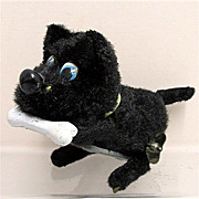 Key Wind Scottie  Dog with a Bone Tin Toy WORKING