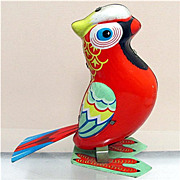 SALE Parrot Tin Toy Key Wind Working