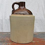 SALE Antique Tan and Light Brown Crock or Jug