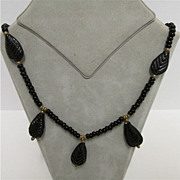 Art Nouveau Necklace Stylized Black Leaves