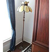 SALE Pole Lamp with Slag Panel Shade