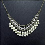 SALE Rhinestone and Faux Pearl Double Strand  BIB Necklace