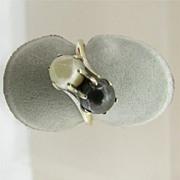 SALE Black and White Pearl Ring Size 6 1/4 10 Karat White Gold
