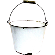 SALE White Enamel Pail or Bucket Wire Bale and Wood Handle