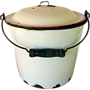 SALE Enamel Pail or Bucket with Enamel Lid