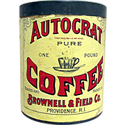 Autocrat Coffee Paper Label Advertising Tin