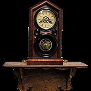 American Folk Art Clock Shelf  Oak