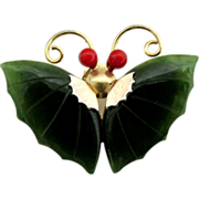 SALE Butterfly Pin, Brooch or Pendant Simulated Jade