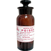 Amber Glass Acetic Acid Poison Apothecary jar MINT