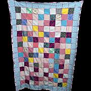 REDUCED Quilt Random Block Design  Hand Stitched  Crazy Quilt