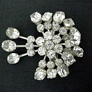 SALE Dress Pin or Brooch Art Nouveau with 35 Rhinestones
