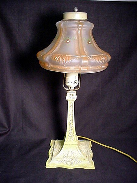 Antique Boudoir, Desk or Table Lamp with Hand painted Shade