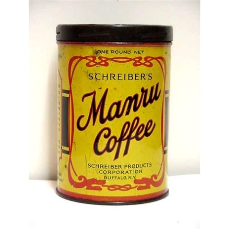 Manru Coffee Advertising Tin Buffalo New York