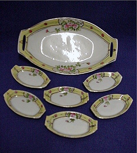 Relish Set Master Dish and Six Servings Nippon Porcelain