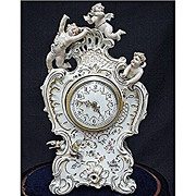 SALE Antique German Volkstedt  Porcelain Clock with Original Glass Dome and Wood Base