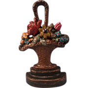 Vintage Hubley Cast Iron Flower Bouquet Basket Door Stop