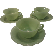 """3 Sets of Fire King Jadite """"Alice"""" pattern cups & saucers"""