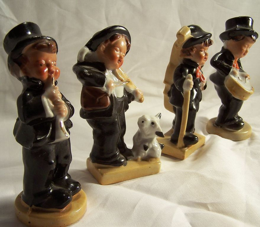 Jazz Band Figurines--Musical-Fiddle-Drum-Clarinet-Bass; 4 pc. Ceramic