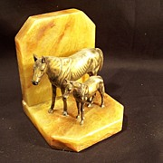 SALE Horse Bookend--Marble & Bronze
